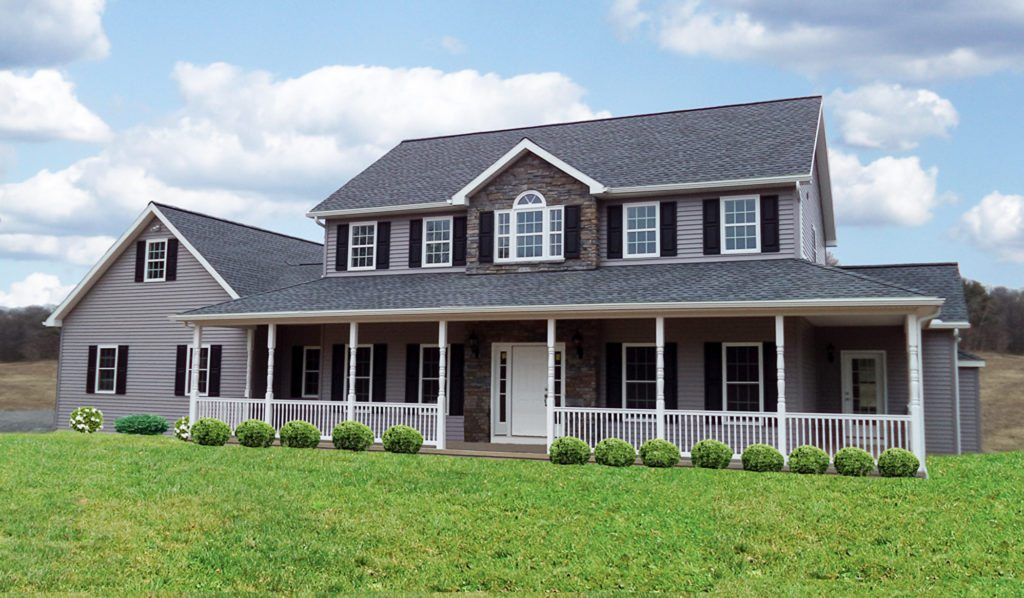 Brookside Homes Custom Home Builder PA and NY - Colonial Home Plan - Alternate Exterior with Modified Reverse Gable 14-85