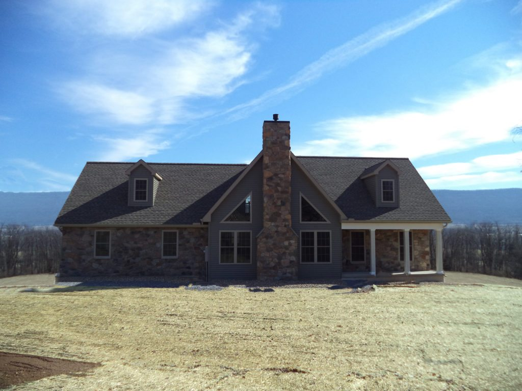 Slate Run Alternate Exterior Reverse Floor Plan with Optional Chimney and Porch Posts, and No Railing