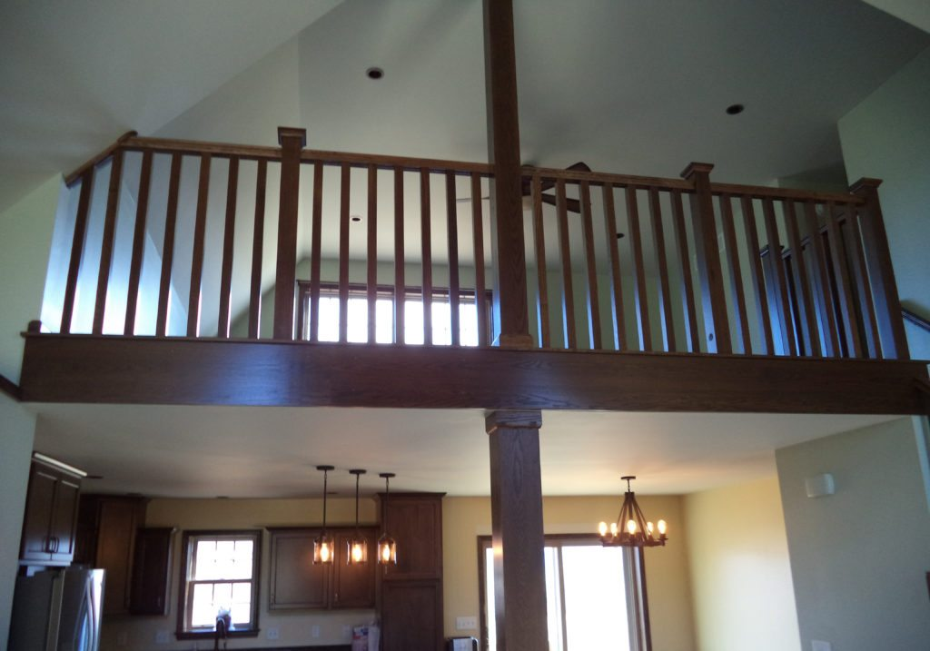 Slate Run Reverse Layout Living Room View to Loft, Modified Staircase Placement