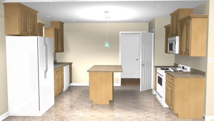 Concord 2 Kitchen with Modified Island and Lighting