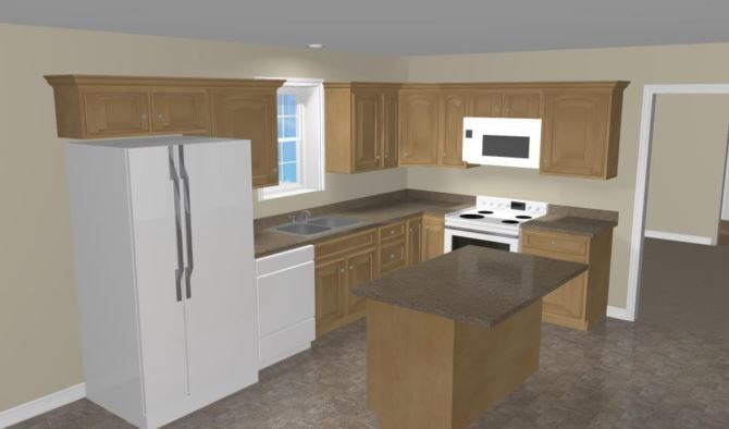 Marks 1 Kitchen with Modified Island Layout
