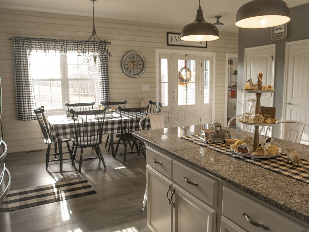 Riverside Kitchen Island and Dining Area